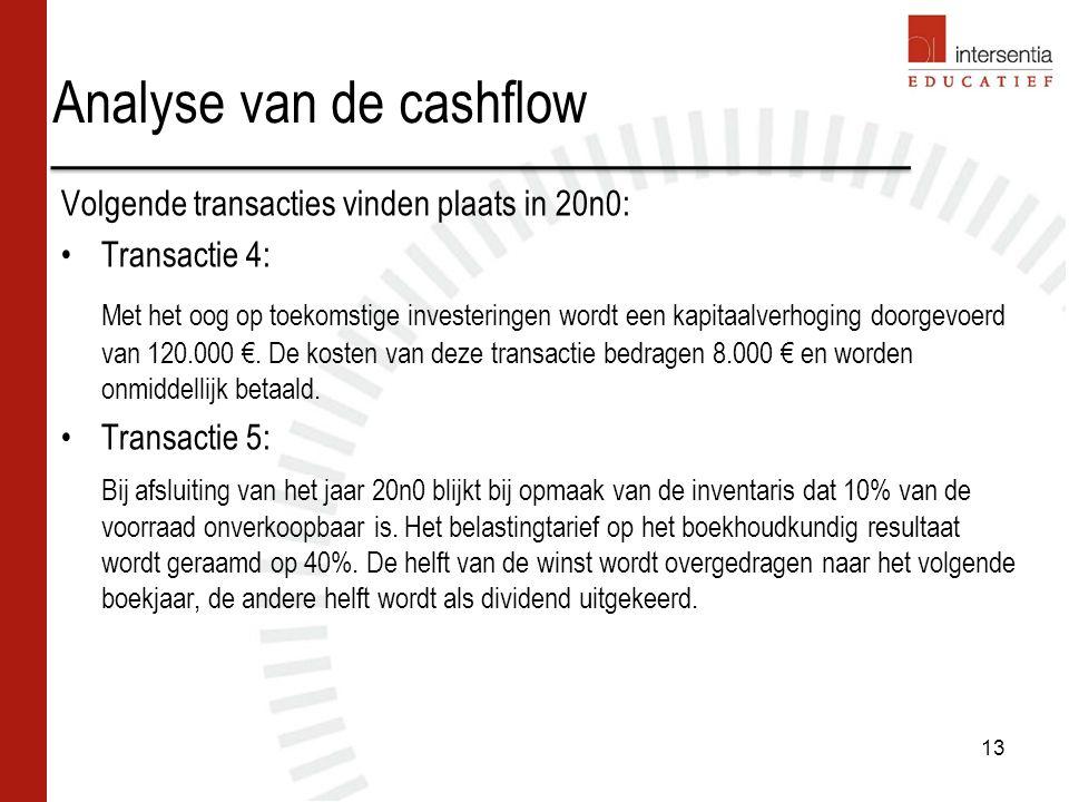 Analyse van de cashflow Volgende transacties vinden plaats in 20n0: Transactie 4: Met het oog op toekomstige investeringen wordt een kapitaalverhoging doorgevoerd van 120.000 €.