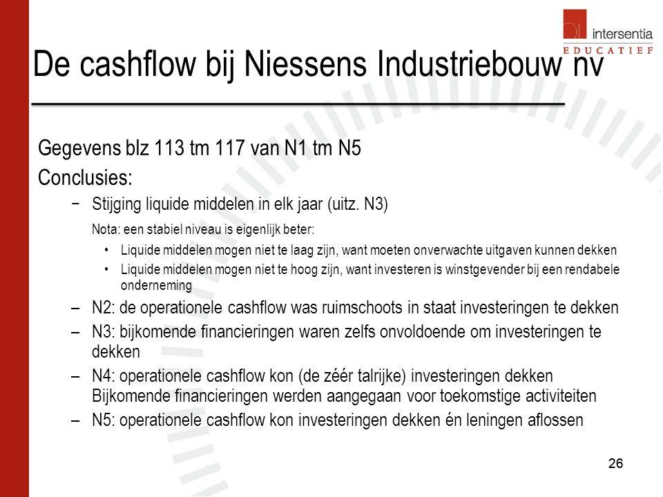De cashflow bij Niessens Industriebouw nv Gegevens blz 113 tm 117 van N1 tm N5 Conclusies: −Stijging liquide middelen in elk jaar (uitz.