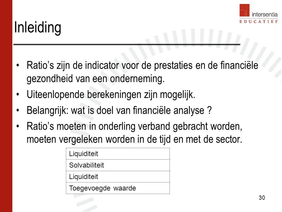 Inleiding Ratio's zijn de indicator voor de prestaties en de financiële gezondheid van een onderneming.