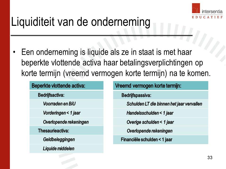Liquiditeit van de onderneming Een onderneming is liquide als ze in staat is met haar beperkte vlottende activa haar betalingsverplichtingen op korte termijn (vreemd vermogen korte termijn) na te komen.