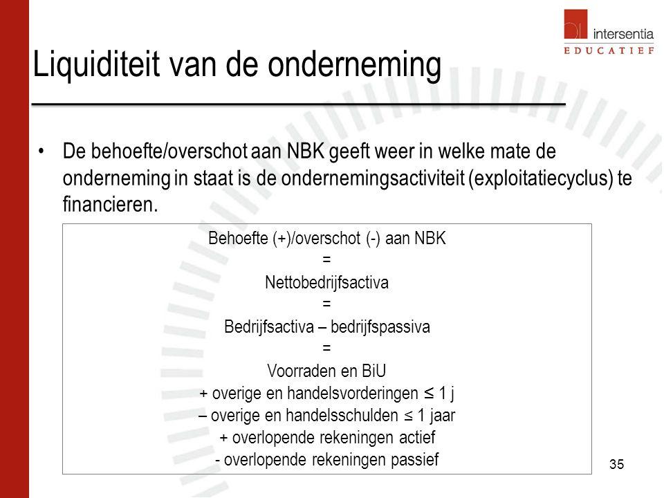 Liquiditeit van de onderneming De behoefte/overschot aan NBK geeft weer in welke mate de onderneming in staat is de ondernemingsactiviteit (exploitatiecyclus) te financieren.