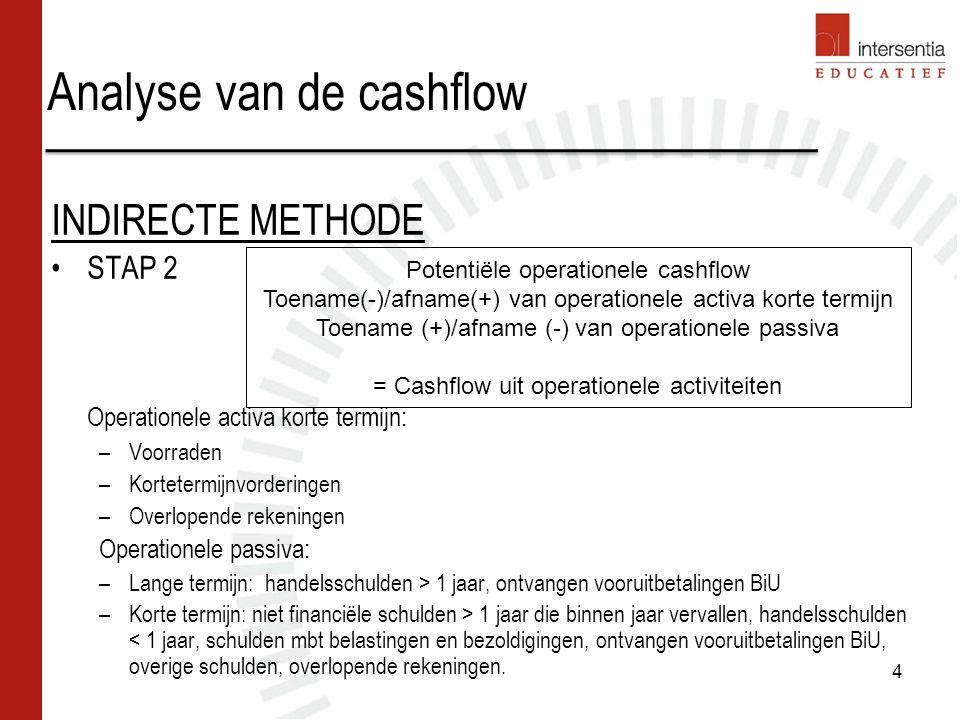 Analyse van de cashflow INDIRECTE METHODE STAP 2 Operationele activa korte termijn: –Voorraden –Kortetermijnvorderingen –Overlopende rekeningen Operationele passiva: –Lange termijn: handelsschulden > 1 jaar, ontvangen vooruitbetalingen BiU –Korte termijn: niet financiële schulden > 1 jaar die binnen jaar vervallen, handelsschulden < 1 jaar, schulden mbt belastingen en bezoldigingen, ontvangen vooruitbetalingen BiU, overige schulden, overlopende rekeningen.