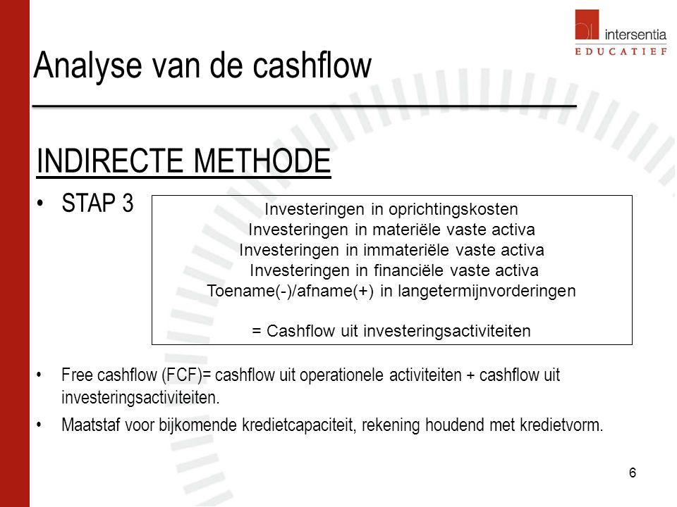 Analyse van de cashflow NBB en de tabel der middelen en bestedingen: Geïnspireerd op IFRS Verschilpunten met voorgaande voorstelling: –Vertrekbasis : intern beschikbare middelen, en niet cashflow –Vorderingen > 1 jaar zijn deel van de financieringsactiviteiten –Overige schulden idem –Geldbeleggingen en liquide middelen zijn onderdeel van de tabel 4 stappen: –Intern beschikbare middelen –Financieringstekort – of overschot –Het te financieren totaal/ overschot aan externe middelen –Overzicht van de externe middelen 27