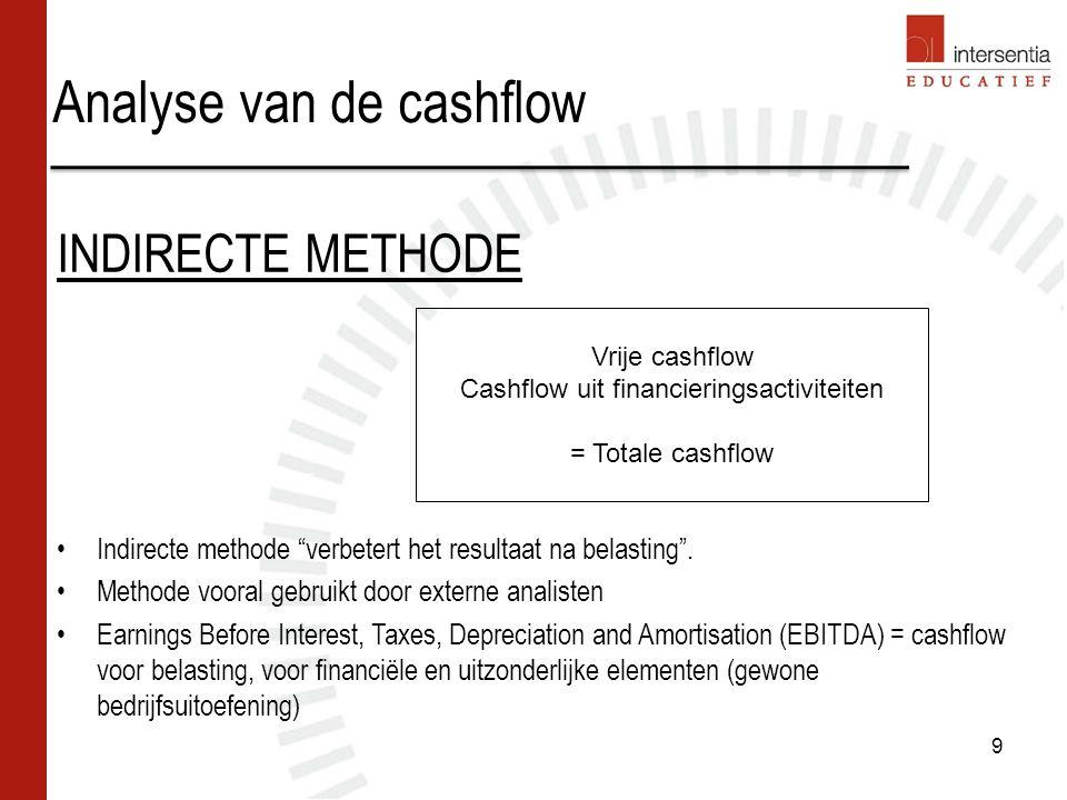 Analyse van de cashflow 9 INDIRECTE METHODE Indirecte methode verbetert het resultaat na belasting .