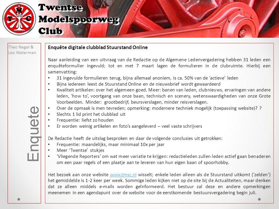 Enquete Theo Nagel & Leo Waterman Enquête digitale clubblad Stuurstand Online Naar aanleiding van een uitvraag van de Redactie op de Algemene Ledenvergadering hebben 31 leden een enquêteformulier ingevuld; tot en met 7 maart lagen de formulieren in de clubruimte.