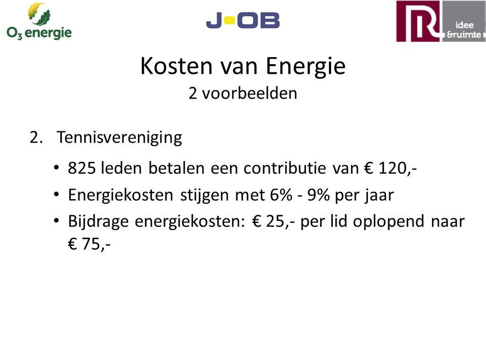 Kosten van Energie 2 voorbeelden 2.Tennisvereniging 825 leden betalen een contributie van € 120,- Energiekosten stijgen met 6% - 9% per jaar Bijdrage energiekosten: € 25,- per lid oplopend naar € 75,-