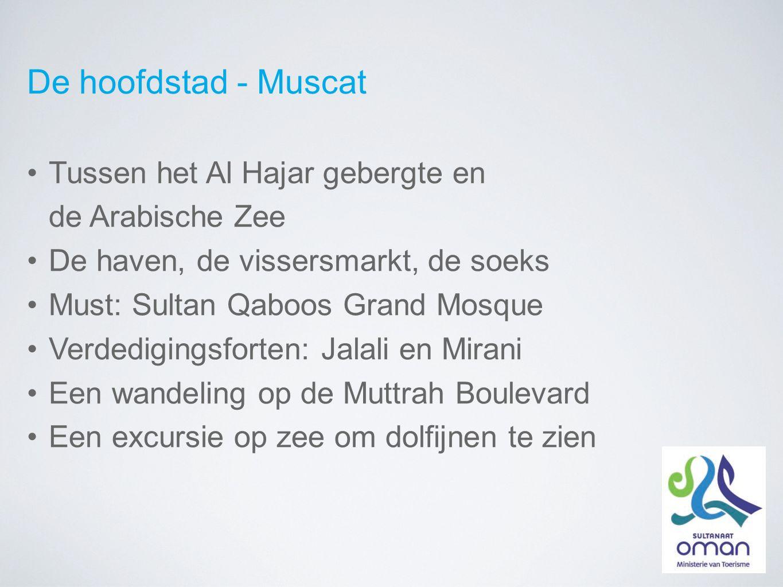 De hoofdstad - Muscat Tussen het Al Hajar gebergte en de Arabische Zee De haven, de vissersmarkt, de soeks Must: Sultan Qaboos Grand Mosque Verdedigingsforten: Jalali en Mirani Een wandeling op de Muttrah Boulevard Een excursie op zee om dolfijnen te zien