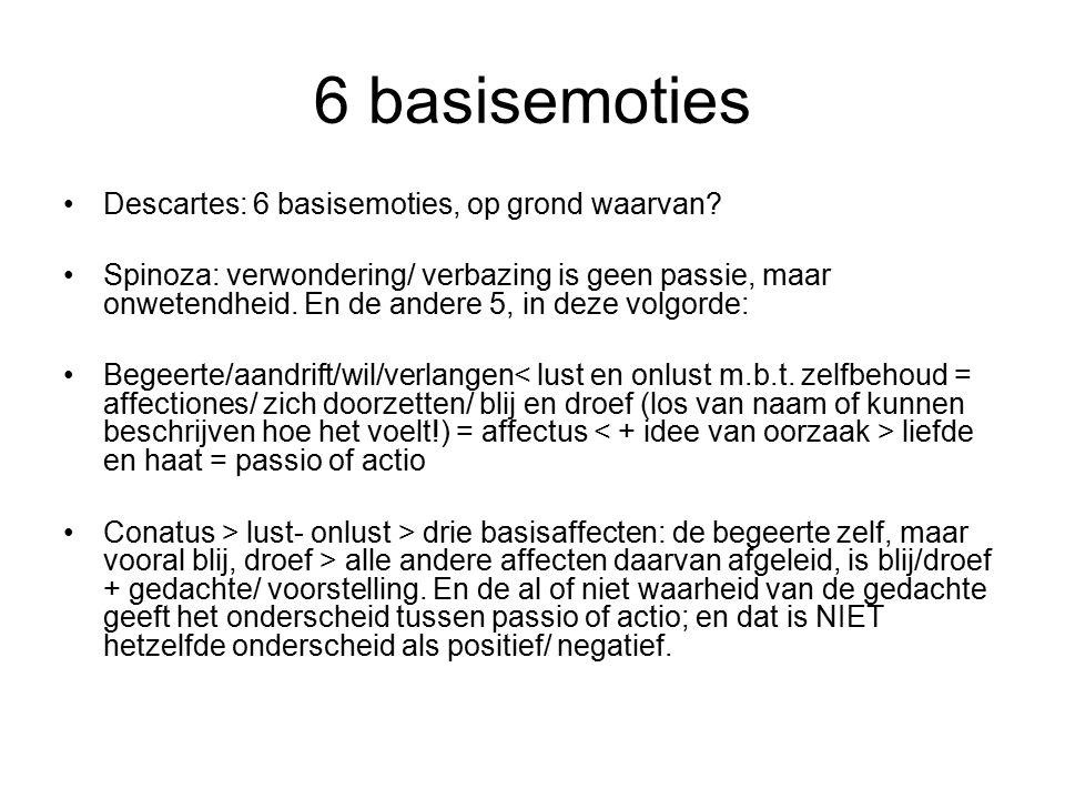 6 basisemoties Descartes: 6 basisemoties, op grond waarvan.