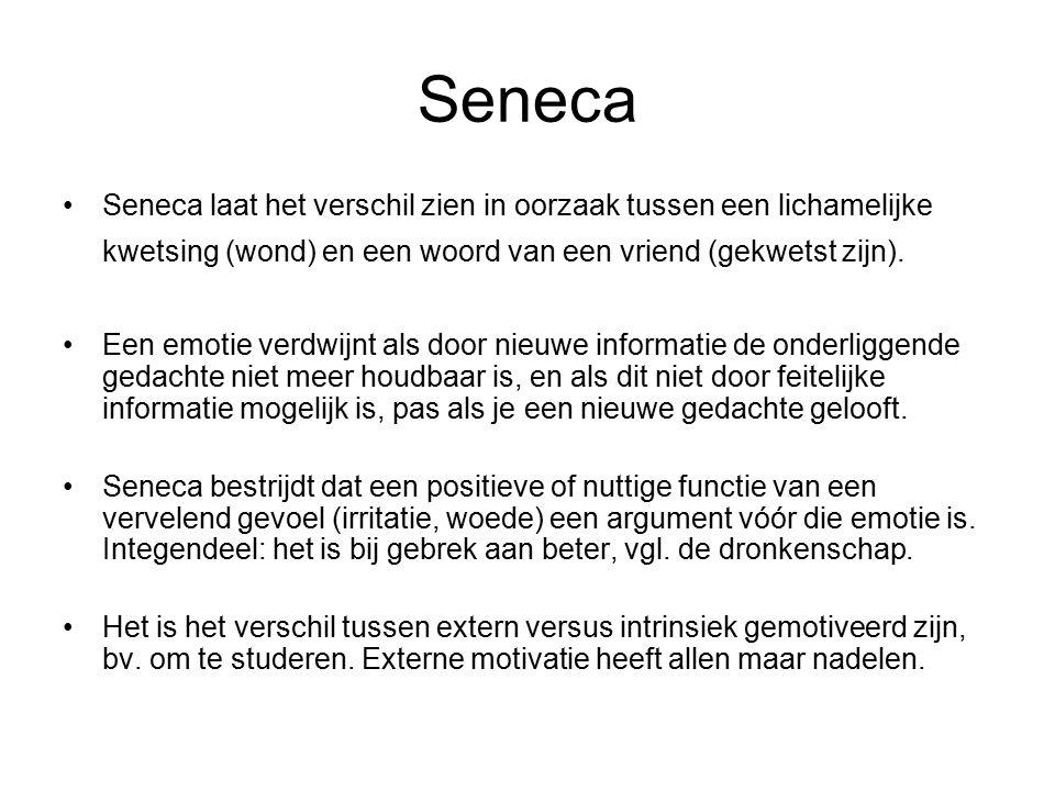 Seneca Seneca laat het verschil zien in oorzaak tussen een lichamelijke kwetsing (wond) en een woord van een vriend (gekwetst zijn). Een emotie verdwi