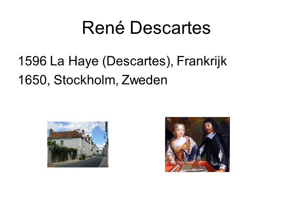 René Descartes 1596 La Haye (Descartes), Frankrijk 1650, Stockholm, Zweden
