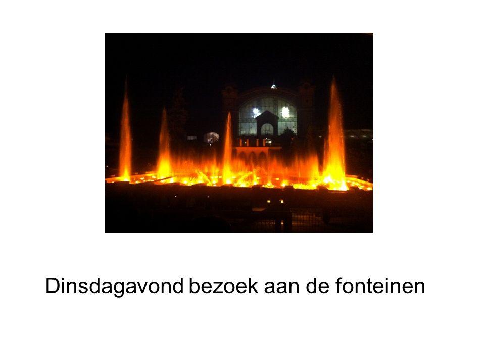 Dinsdagavond bezoek aan de fonteinen