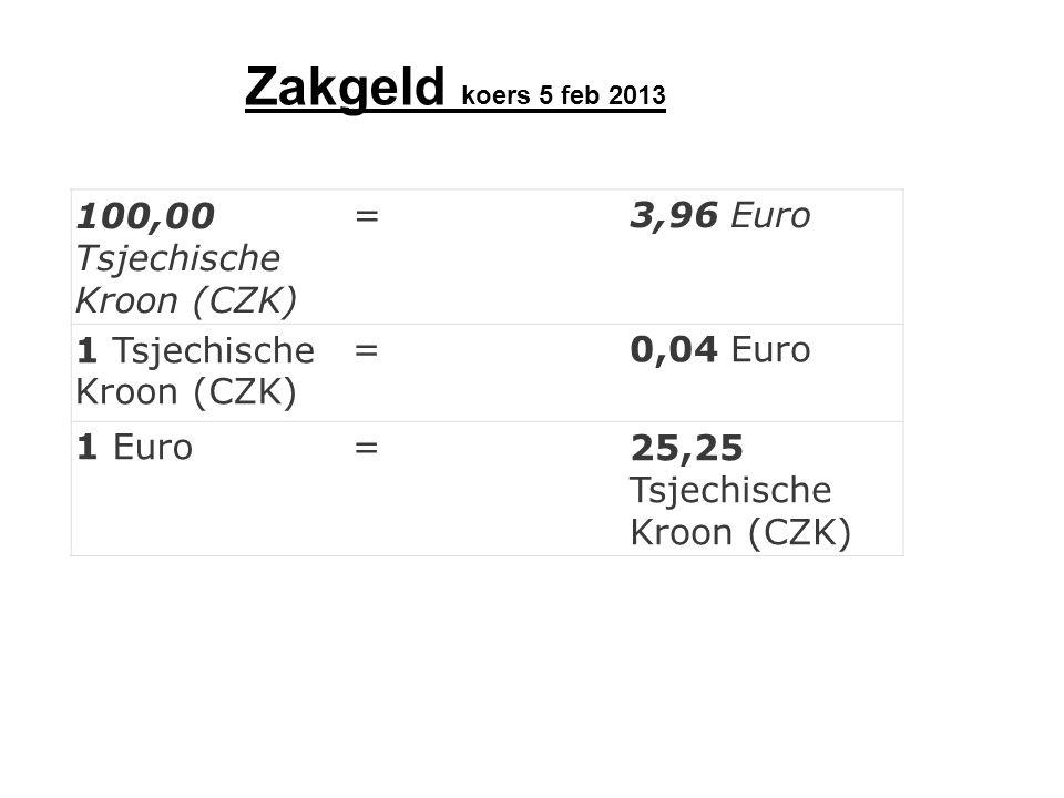 100,00 Tsjechische Kroon (CZK) =3,96 Euro 1 Tsjechische Kroon (CZK) =0,04 Euro 1 Euro=25,25 Tsjechische Kroon (CZK) Zakgeld koers 5 feb 2013