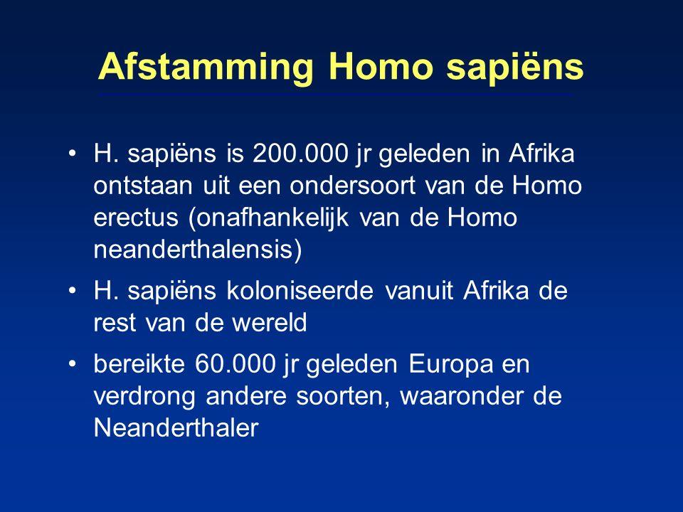 Afstamming Homo sapiëns H. sapiëns is 200.000 jr geleden in Afrika ontstaan uit een ondersoort van de Homo erectus (onafhankelijk van de Homo neandert