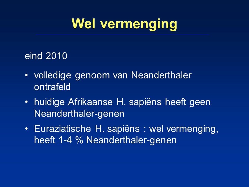 Wel vermenging eind 2010 volledige genoom van Neanderthaler ontrafeld huidige Afrikaanse H. sapiëns heeft geen Neanderthaler-genen Euraziatische H. sa