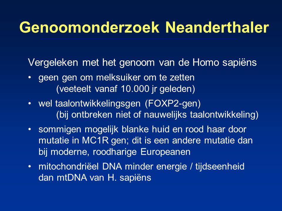 Genoomonderzoek Neanderthaler Vergeleken met het genoom van de Homo sapiëns geen gen om melksuiker om te zetten (veeteelt vanaf 10.000 jr geleden) wel