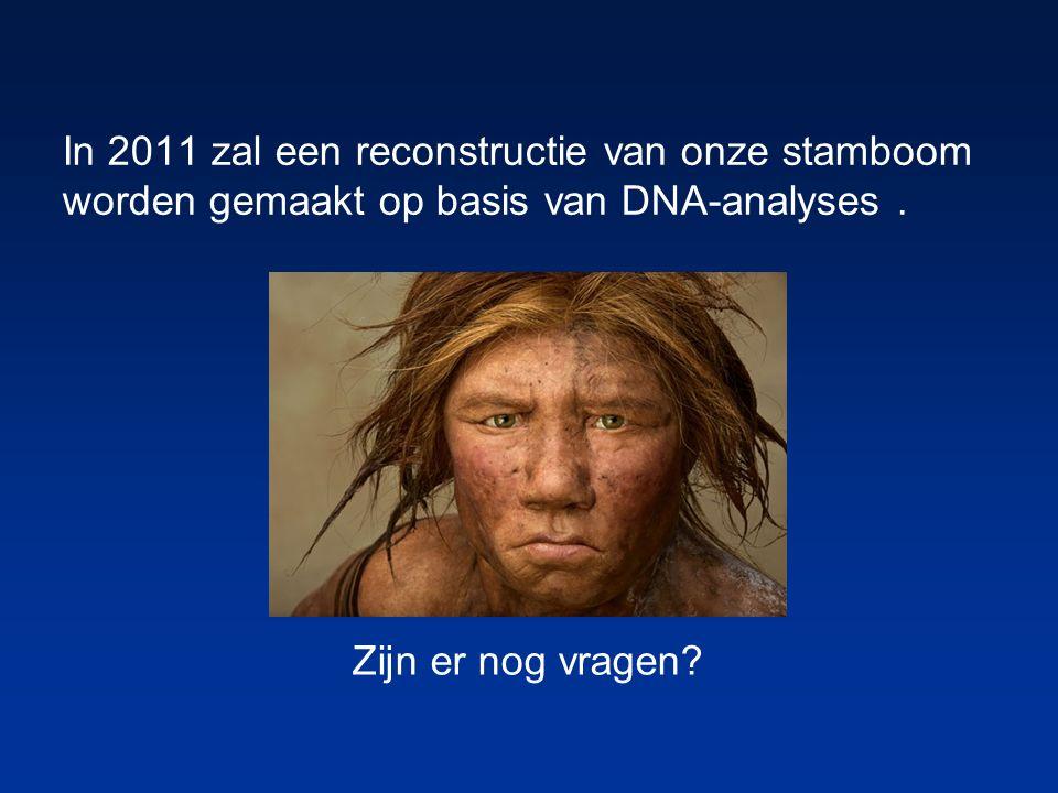 In 2011 zal een reconstructie van onze stamboom worden gemaakt op basis van DNA-analyses. Zijn er nog vragen?