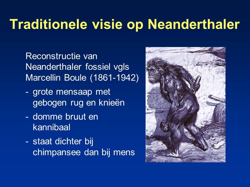 Traditionele visie op Neanderthaler Reconstructie van Neanderthaler fossiel vgls Marcellin Boule (1861-1942) -grote mensaap met gebogen rug en knieën