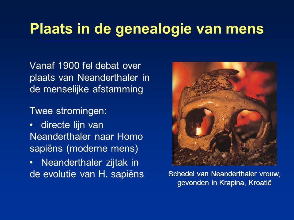 Plaats in de genealogie van mens Vanaf 1900 fel debat over plaats van Neanderthaler in de menselijke afstamming Twee stromingen: directe lijn van Nean