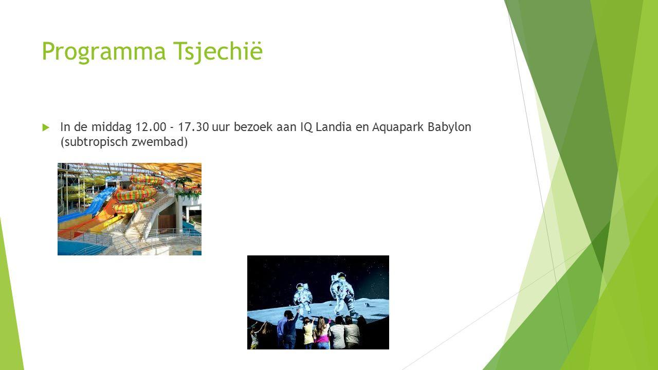 Programma Tsjechië  In de middag 12.00 - 17.30 uur bezoek aan IQ Landia en Aquapark Babylon (subtropisch zwembad)