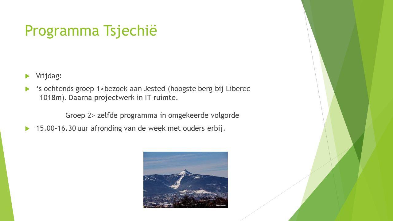 Programma Tsjechië  Vrijdag:  's ochtends groep 1>bezoek aan Jested (hoogste berg bij Liberec 1018m).