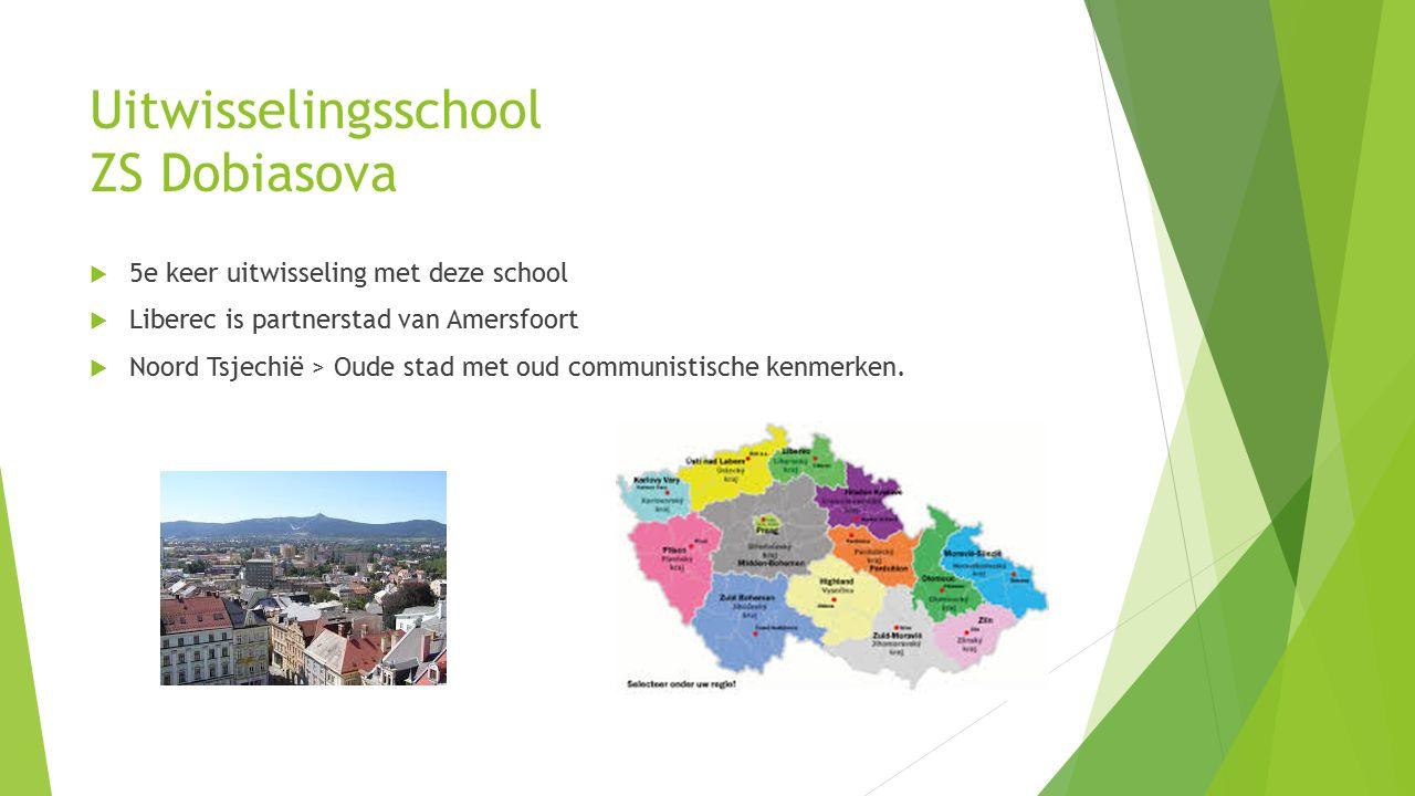 Uitwisselingsschool ZS Dobiasova  5e keer uitwisseling met deze school  Liberec is partnerstad van Amersfoort  Noord Tsjechië > Oude stad met oud communistische kenmerken.