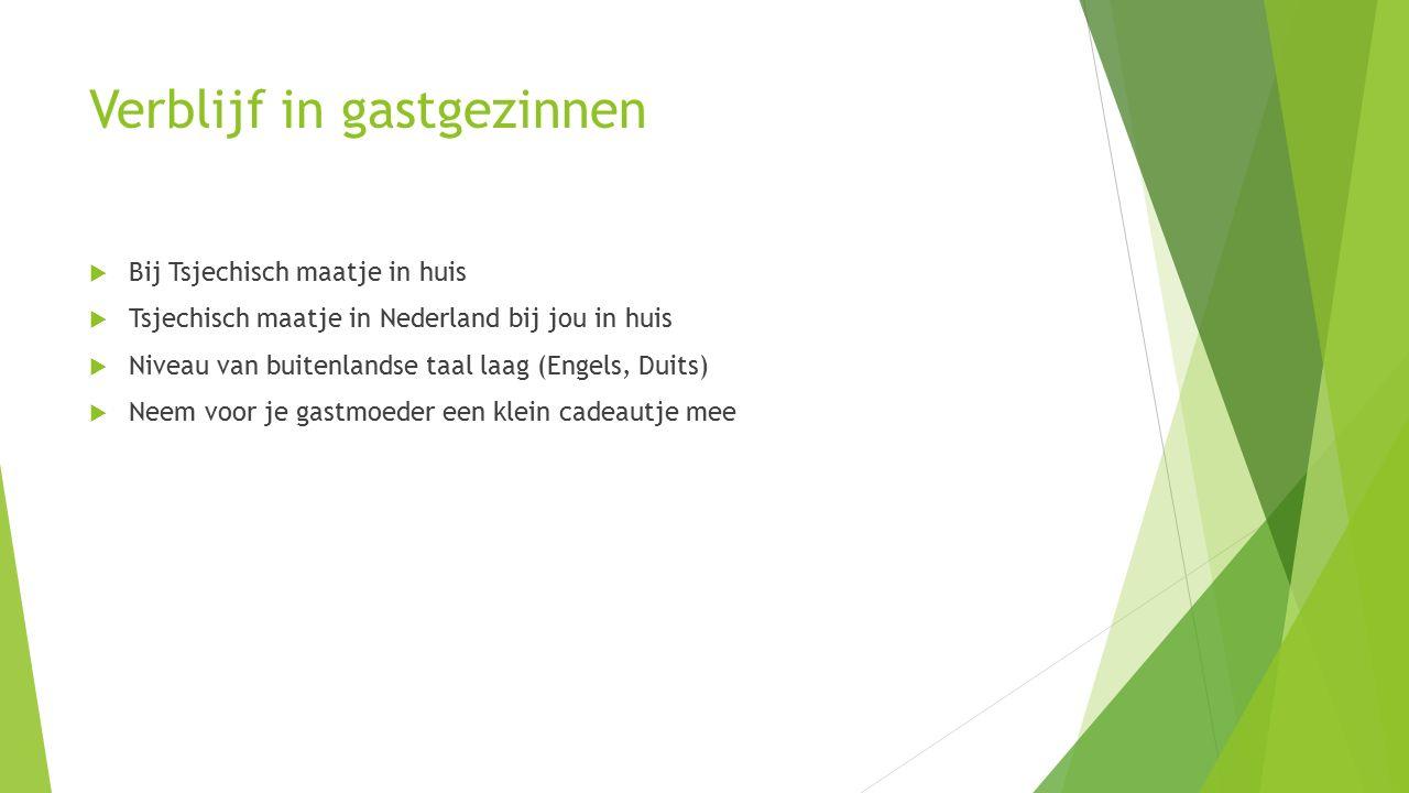 Verblijf in gastgezinnen  Bij Tsjechisch maatje in huis  Tsjechisch maatje in Nederland bij jou in huis  Niveau van buitenlandse taal laag (Engels, Duits)  Neem voor je gastmoeder een klein cadeautje mee