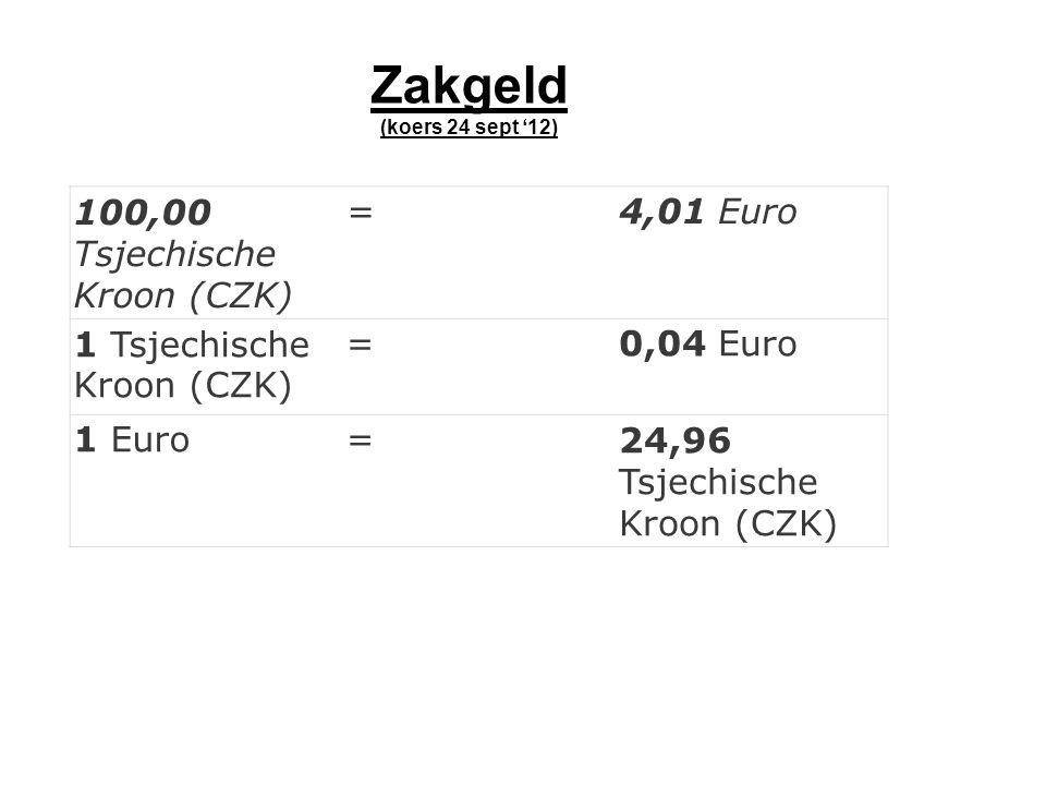 100,00 Tsjechische Kroon (CZK) =4,01 Euro 1 Tsjechische Kroon (CZK) =0,04 Euro 1 Euro=24,96 Tsjechische Kroon (CZK) Zakgeld (koers 24 sept '12)