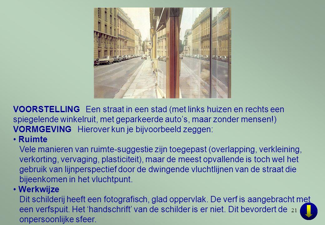21 VOORSTELLING Een straat in een stad (met links huizen en rechts een spiegelende winkelruit, met geparkeerde auto's, maar zonder mensen!) VORMGEVING