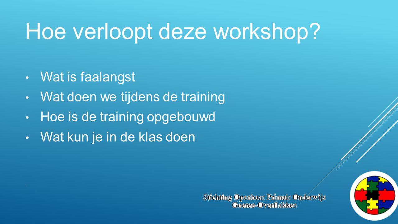 Hoe verloopt deze workshop? Wat is faalangst Wat doen we tijdens de training Hoe is de training opgebouwd Wat kun je in de klas doen -