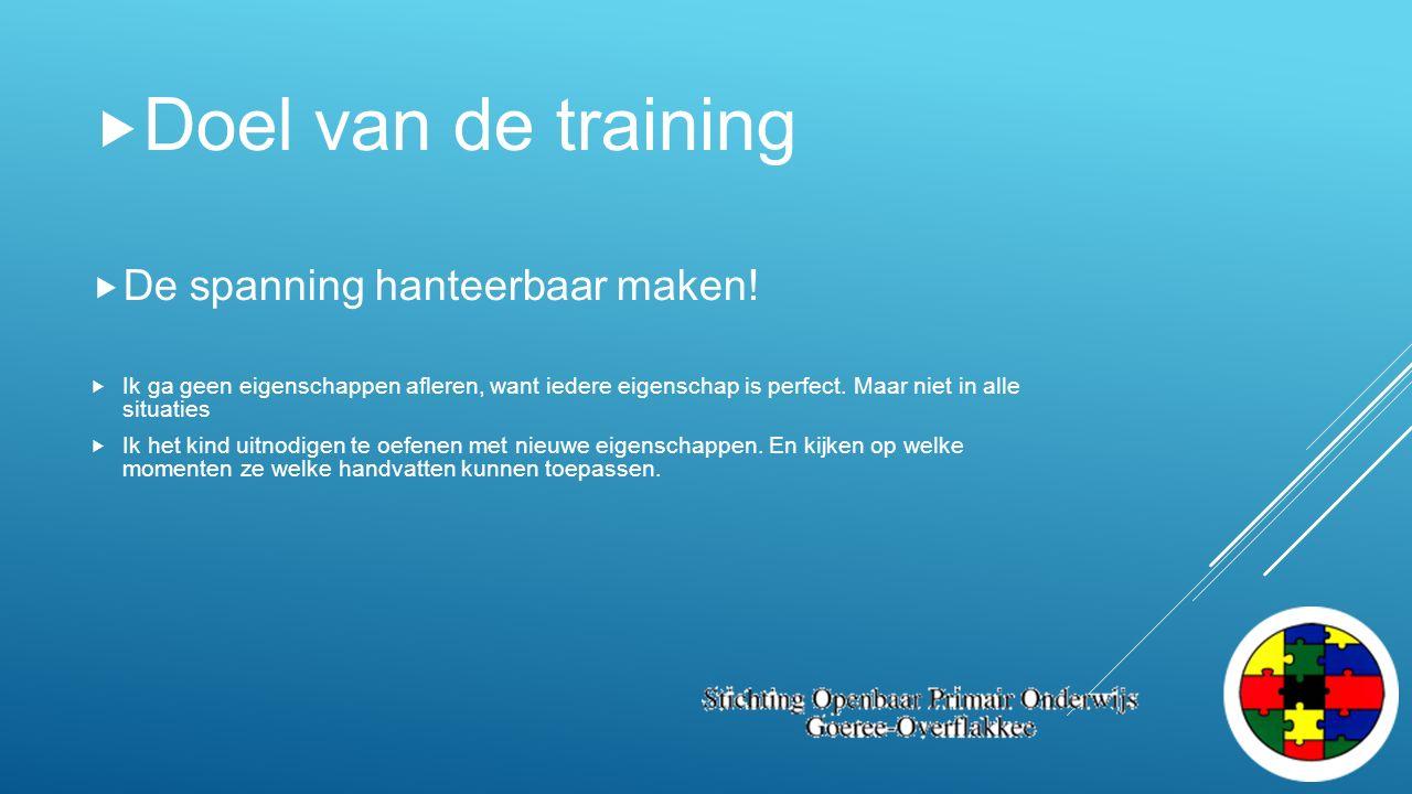  Doel van de training  De spanning hanteerbaar maken!  Ik ga geen eigenschappen afleren, want iedere eigenschap is perfect. Maar niet in alle situa