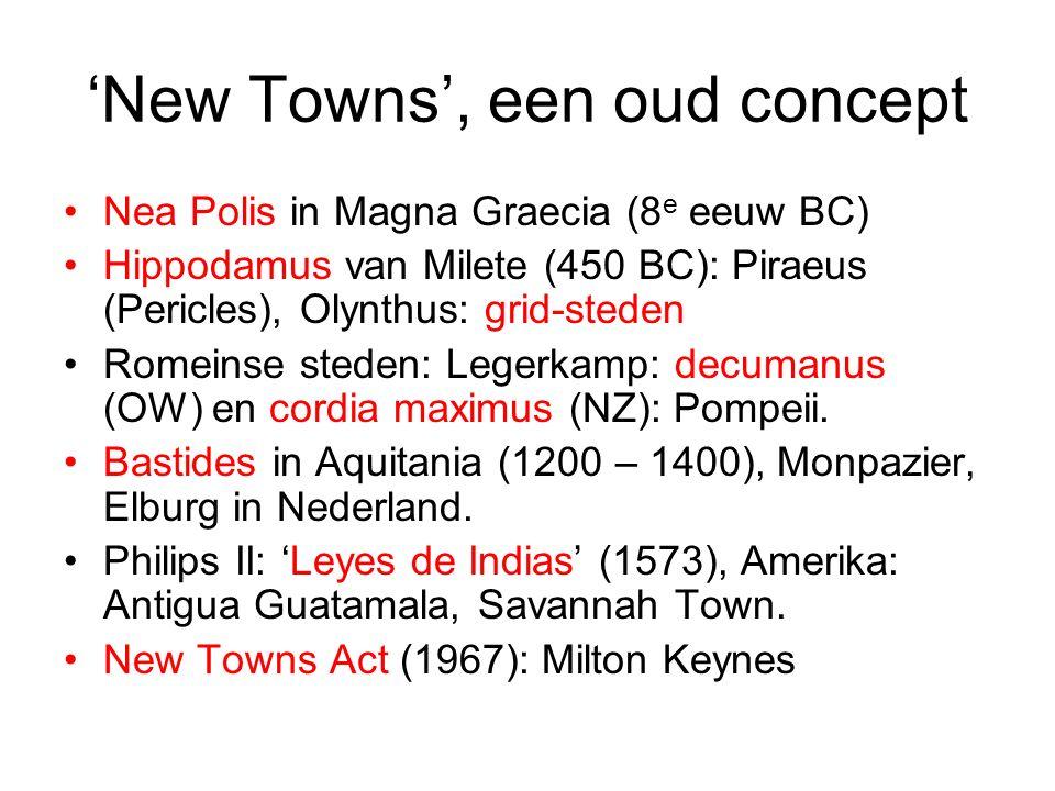 'New Towns', een oud concept Nea Polis in Magna Graecia (8 e eeuw BC) Hippodamus van Milete (450 BC): Piraeus (Pericles), Olynthus: grid-steden Romeinse steden: Legerkamp: decumanus (OW) en cordia maximus (NZ): Pompeii.