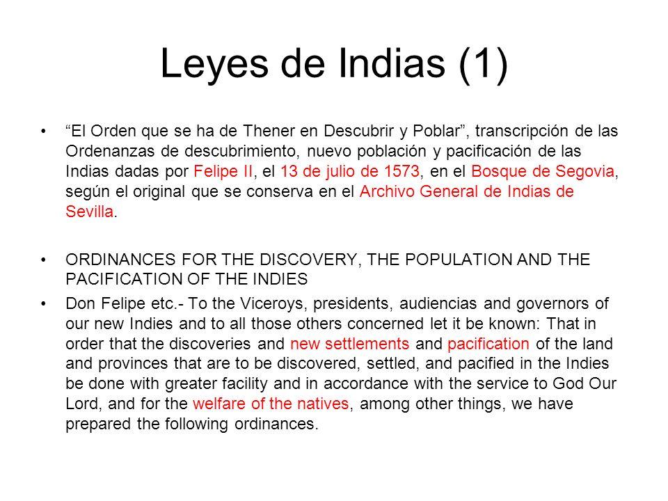 """Leyes de Indias (1) """"El Orden que se ha de Thener en Descubrir y Poblar"""", transcripción de las Ordenanzas de descubrimiento, nuevo población y pacif"""
