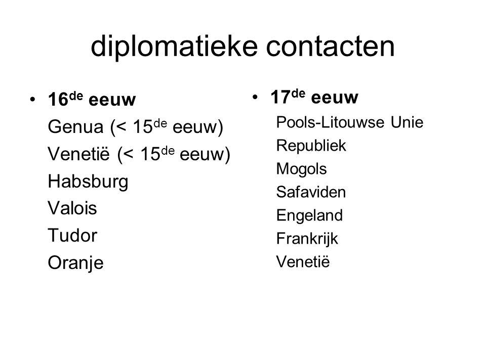 diplomatieke contacten 16 de eeuw Genua (< 15 de eeuw) Venetië (< 15 de eeuw) Habsburg Valois Tudor Oranje 17 de eeuw Pools-Litouwse Unie Republiek Mogols Safaviden Engeland Frankrijk Venetië