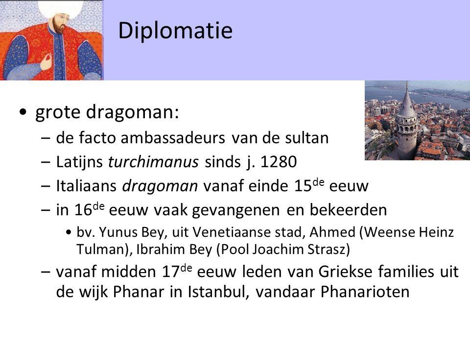 grote dragoman: –de facto ambassadeurs van de sultan –Latijns turchimanus sinds j.