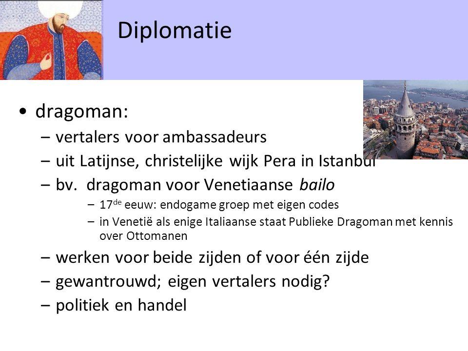 dragoman: –vertalers voor ambassadeurs –uit Latijnse, christelijke wijk Pera in Istanbul –bv. dragoman voor Venetiaanse bailo –17 de eeuw: endogame gr