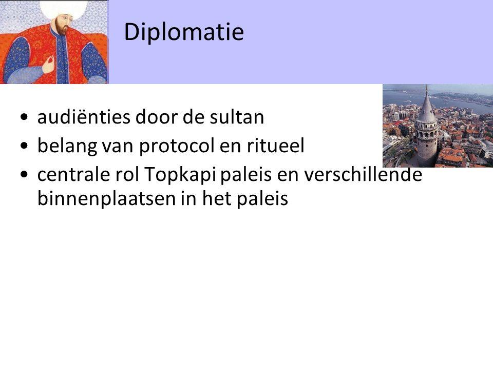 audiënties door de sultan belang van protocol en ritueel centrale rol Topkapi paleis en verschillende binnenplaatsen in het paleis Diplomatie