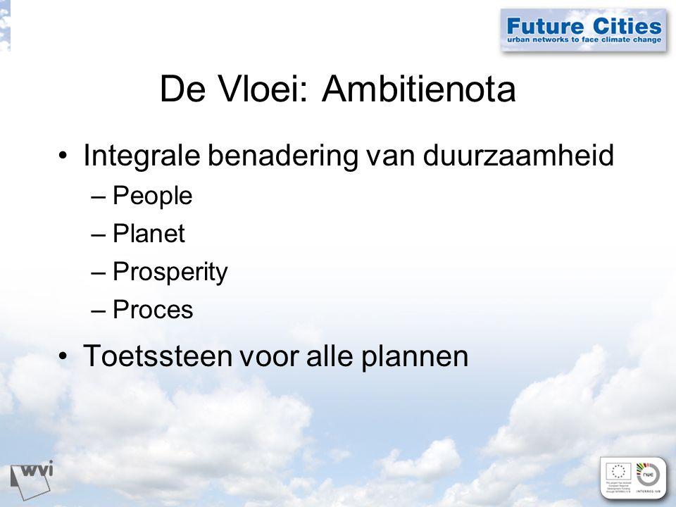 De Vloei: Ambitienota Integrale benadering van duurzaamheid –People –Planet –Prosperity –Proces Toetssteen voor alle plannen