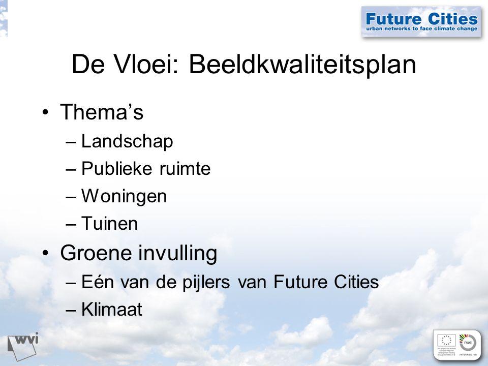 De Vloei: Beeldkwaliteitsplan Thema's –Landschap –Publieke ruimte –Woningen –Tuinen Groene invulling –Eén van de pijlers van Future Cities –Klimaat