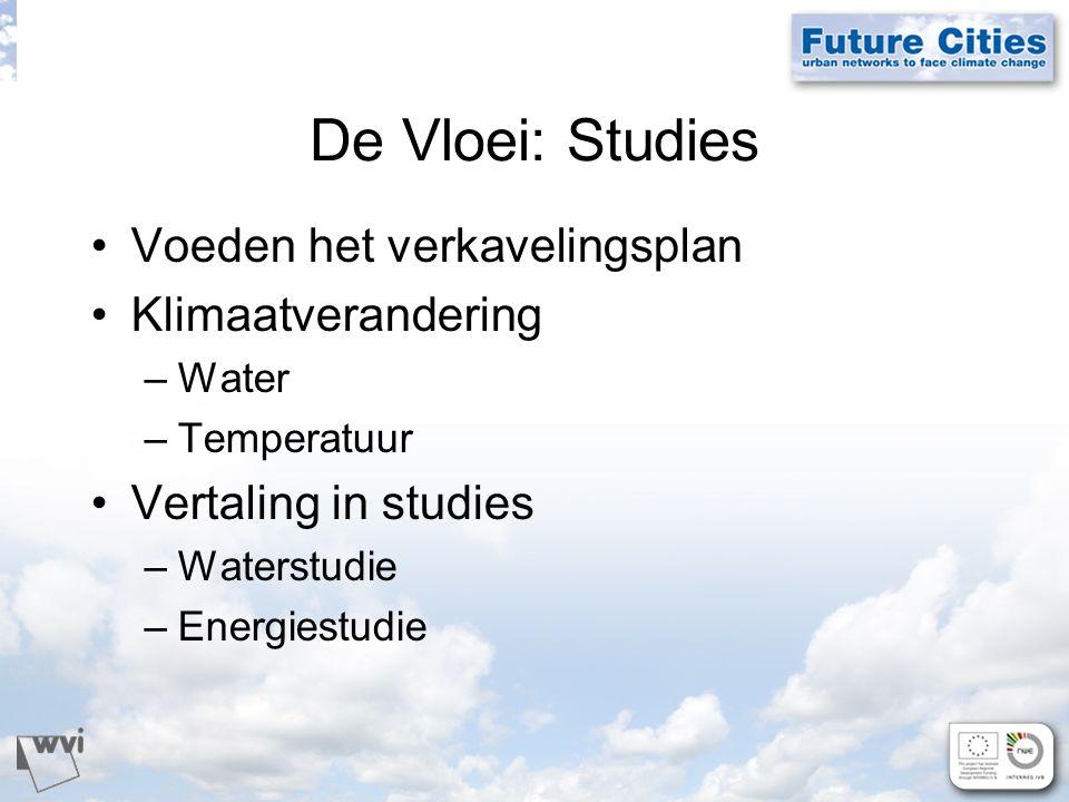 De Vloei: Studies Voeden het verkavelingsplan Klimaatverandering –Water –Temperatuur Vertaling in studies –Waterstudie –Energiestudie