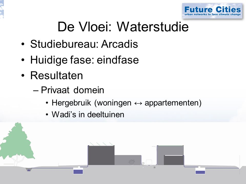 De Vloei: Waterstudie Studiebureau: Arcadis Huidige fase: eindfase Resultaten –Privaat domein Hergebruik (woningen ↔ appartementen) Wadi's in deeltuinen