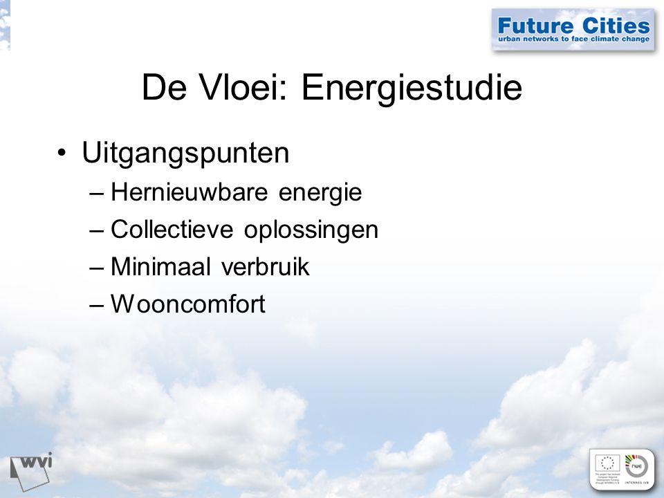 De Vloei: Energiestudie Uitgangspunten –Hernieuwbare energie –Collectieve oplossingen –Minimaal verbruik –Wooncomfort