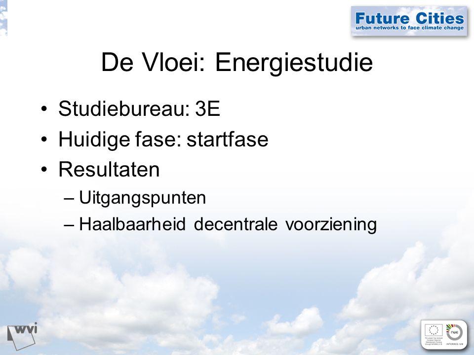 De Vloei: Energiestudie Studiebureau: 3E Huidige fase: startfase Resultaten –Uitgangspunten –Haalbaarheid decentrale voorziening