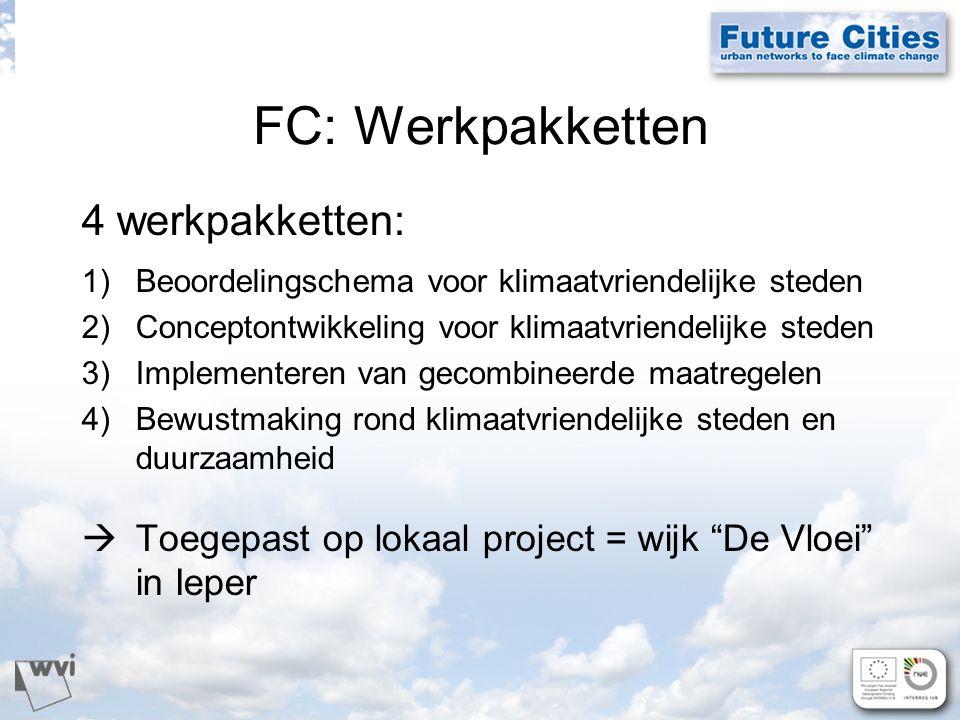 FC: Werkpakketten 4 werkpakketten: 1)Beoordelingschema voor klimaatvriendelijke steden 2)Conceptontwikkeling voor klimaatvriendelijke steden 3)Implementeren van gecombineerde maatregelen 4)Bewustmaking rond klimaatvriendelijke steden en duurzaamheid  Toegepast op lokaal project = wijk De Vloei in Ieper
