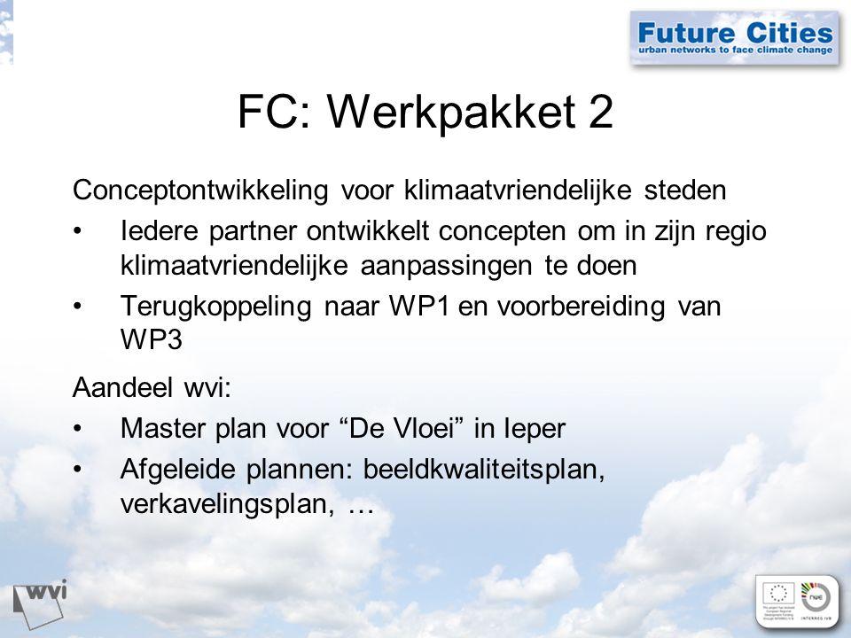 FC: Werkpakket 2 Conceptontwikkeling voor klimaatvriendelijke steden Iedere partner ontwikkelt concepten om in zijn regio klimaatvriendelijke aanpassingen te doen Terugkoppeling naar WP1 en voorbereiding van WP3 Aandeel wvi: Master plan voor De Vloei in Ieper Afgeleide plannen: beeldkwaliteitsplan, verkavelingsplan, …