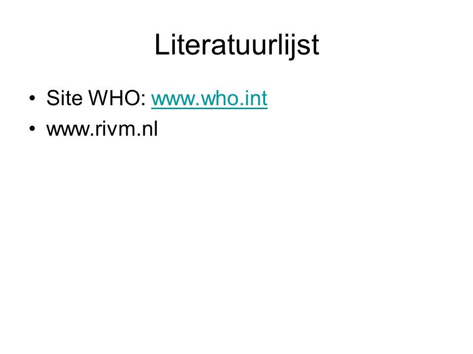 Literatuurlijst Site WHO: www.who.intwww.who.int www.rivm.nl