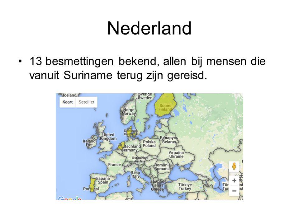 Nederland 13 besmettingen bekend, allen bij mensen die vanuit Suriname terug zijn gereisd.