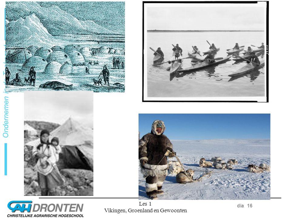 dia 16 Ondernemen in de Toekomst Les 1 Vikingen, Groenland en Gewoonten