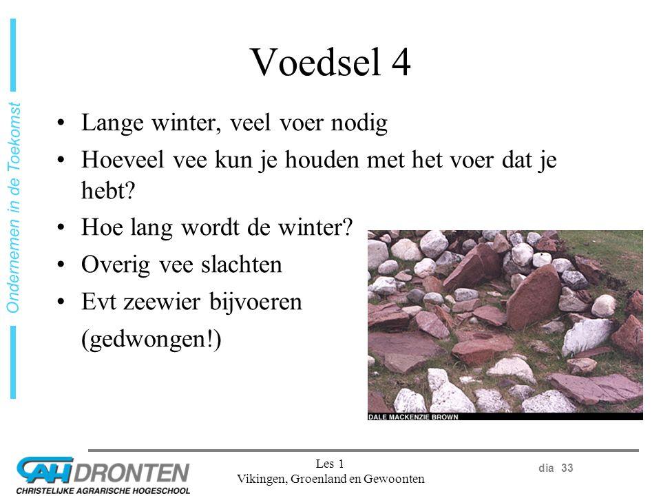 dia 33 Ondernemen in de Toekomst Les 1 Vikingen, Groenland en Gewoonten Voedsel 4 Lange winter, veel voer nodig Hoeveel vee kun je houden met het voer dat je hebt.