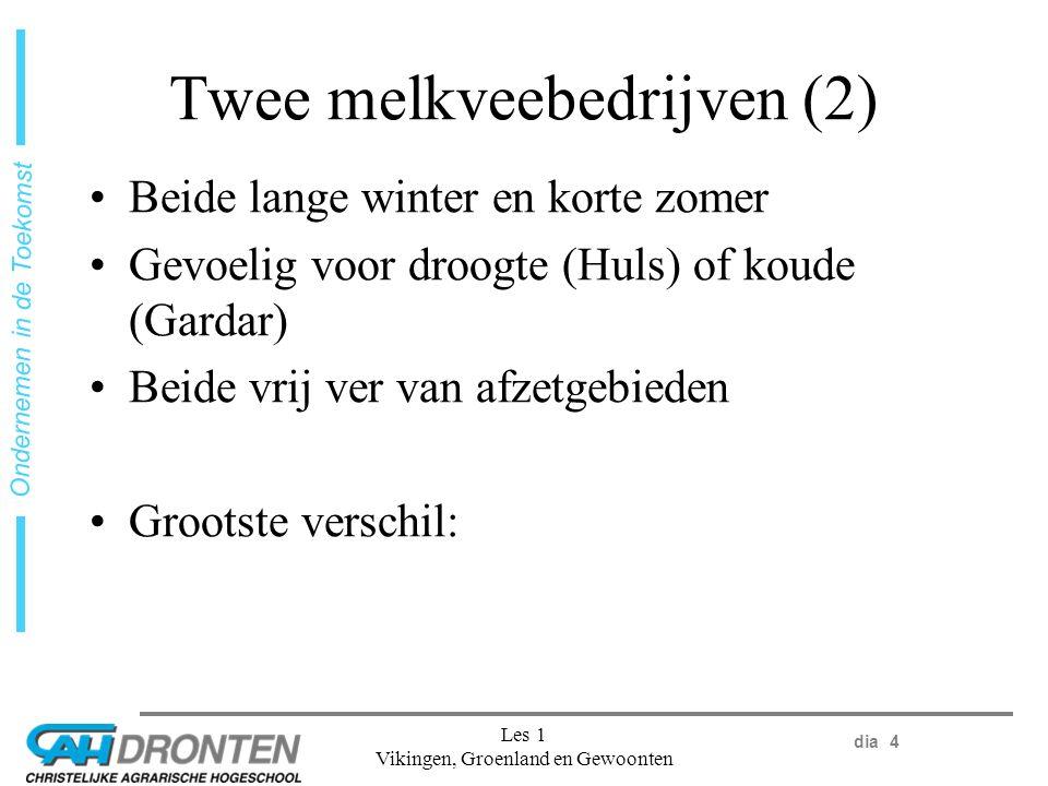 dia 4 Ondernemen in de Toekomst Les 1 Vikingen, Groenland en Gewoonten Twee melkveebedrijven (2) Beide lange winter en korte zomer Gevoelig voor droogte (Huls) of koude (Gardar) Beide vrij ver van afzetgebieden Grootste verschil: