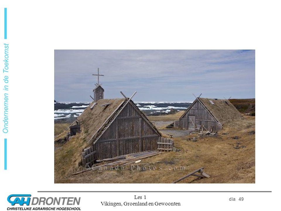 dia 49 Ondernemen in de Toekomst Les 1 Vikingen, Groenland en Gewoonten